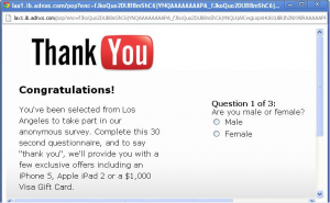 fake popup advert user has won an iPad or $1000